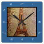 Pintura de Jorte Seurat: La torre Eiffel (1889) Relojes