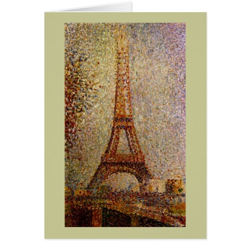 Pintura de Jorte Seurat: La torre Eiffel (1889) Tarjeton