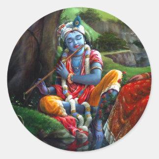 Pintura de Krishna (mitología india) Pegatina Redonda