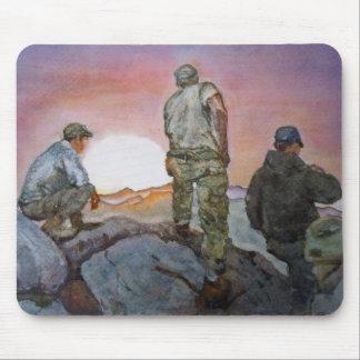 Pintura de la acuarela de Afganistán del soldado d Tapetes De Ratones
