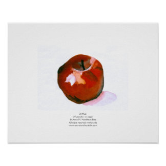 Pintura de la acuarela de Apple Póster