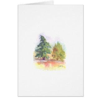 Pintura de la acuarela de dos árboles tarjeta de felicitación
