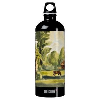 Pintura de la acuarela de la casa del leñador botella de agua