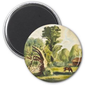 Pintura de la acuarela de la casa del leñador imán redondo 5 cm