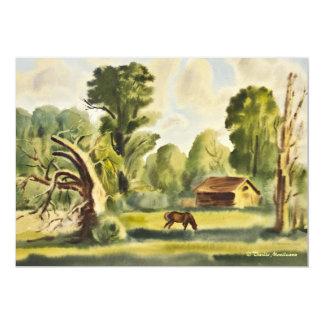 """Pintura de la acuarela de la casa del leñador invitación 5"""" x 7"""""""