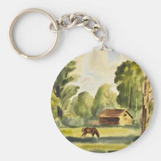 Pintura de la acuarela de la casa del leñador llavero redondo tipo pin