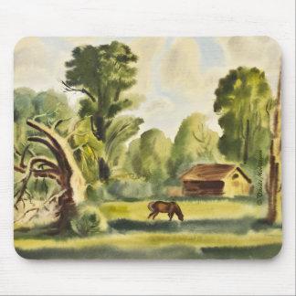 Pintura de la acuarela de la casa del leñador mouse pad