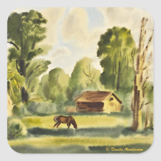 Pintura de la acuarela de la casa del leñador pegatina cuadrada