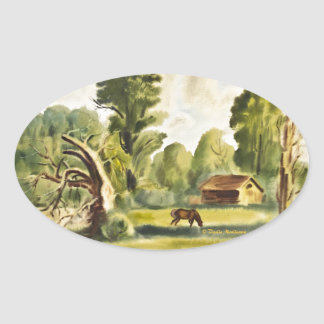 Pintura de la acuarela de la casa del leñador pegatina ovalada