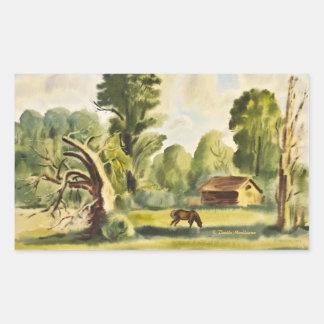 Pintura de la acuarela de la casa del leñador pegatina rectangular