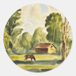 Pintura de la acuarela de la casa del leñador pegatina redonda