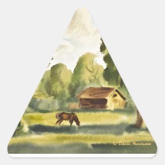 Pintura de la acuarela de la casa del leñador pegatina triangular