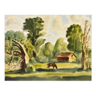 Pintura de la acuarela de la casa del leñador tarjetas postales
