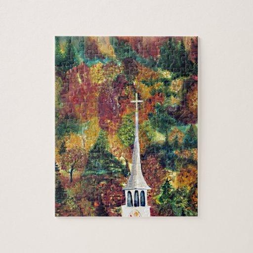 Pintura de la acuarela de la fe del otoño puzzle con fotos