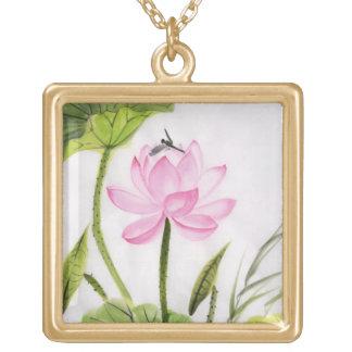 Pintura de la acuarela de la flor de Lotus 2 Pendientes Personalizados