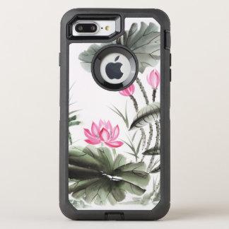 Pintura de la acuarela de la flor de Lotus 2 Funda OtterBox Defender Para iPhone 7 Plus