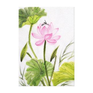 Pintura de la acuarela de la flor de Lotus 2 Impresión En Lona Estirada