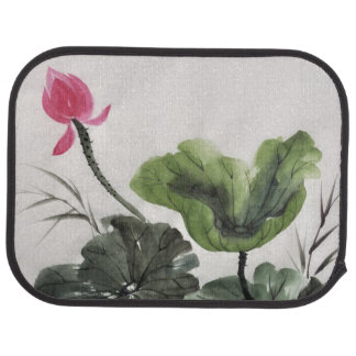 Pintura de la acuarela de la flor de Lotus Alfombrilla De Auto