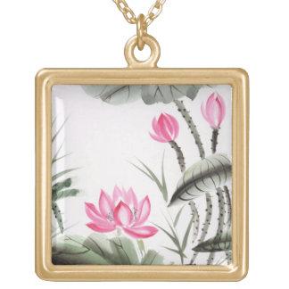 Pintura de la acuarela de la flor de Lotus Pendiente Personalizado