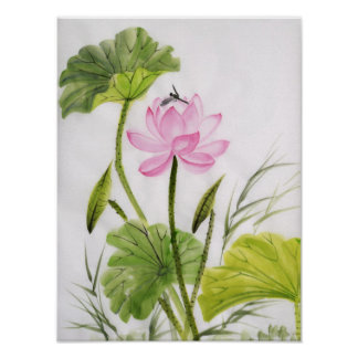 Pintura de la acuarela de la flor de Lotus Póster
