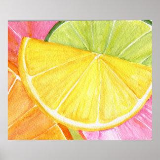 Pintura de la acuarela de la fruta cítrica, cal, póster