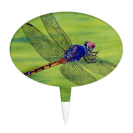Pintura de la acuarela de la libélula palillos de tarta