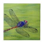 Pintura de la acuarela de la libélula azulejo ceramica