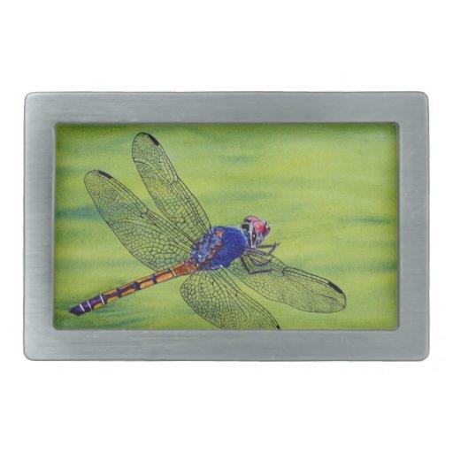 Pintura de la acuarela de la libélula hebilla cinturon rectangular