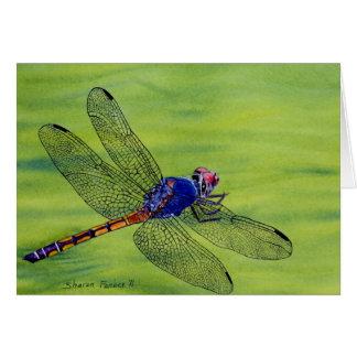 Pintura de la acuarela de la libélula tarjeta de felicitación