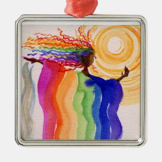 Pintura de la acuarela de la mujer del arco iris adorno navideño cuadrado de metal