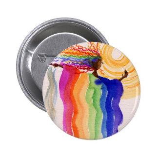 Pintura de la acuarela de la mujer del arco iris d pin redondo 5 cm