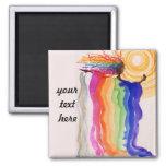 Pintura de la acuarela de la mujer del arco iris d imanes para frigoríficos