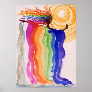 Pintura de la acuarela de la mujer del arco iris d póster