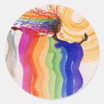 Pintura de la acuarela de la mujer del arco iris etiquetas redondas