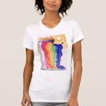 Pintura de la acuarela de la mujer del arco iris camisetas