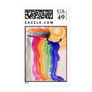 Pintura de la acuarela de la mujer del arco iris sellos