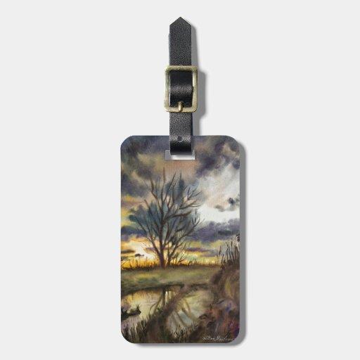 Pintura de la acuarela de la puesta del sol de oct etiqueta para maleta