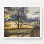 Pintura de la acuarela de la puesta del sol de oct alfombrillas de ratón
