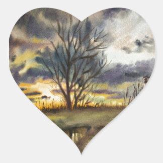 Pintura de la acuarela de la puesta del sol de calcomanía de corazón