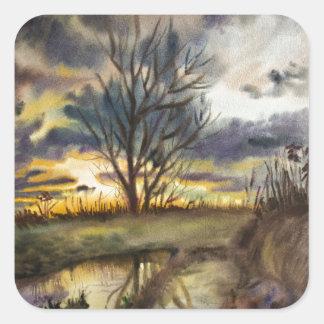 Pintura de la acuarela de la puesta del sol de pegatina cuadrada