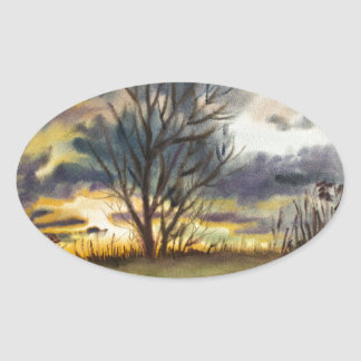 Pintura de la acuarela de la puesta del sol de pegatina ovalada