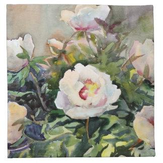 Pintura de la acuarela de las flores hermosas servilleta imprimida