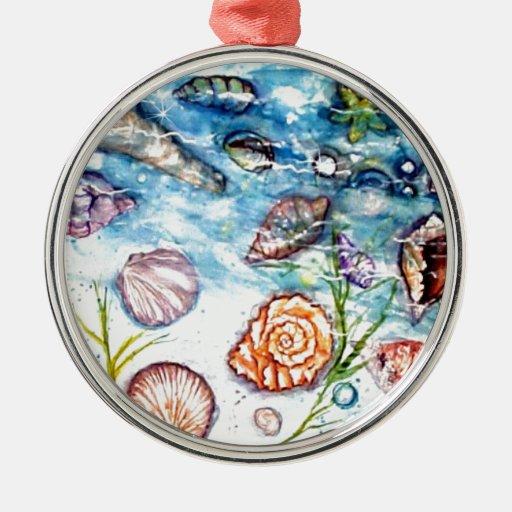 Pintura de la acuarela de Shell del mar Ornamentos De Navidad