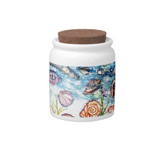 Pintura de la acuarela de Shell del mar Jarras Para Caramelos