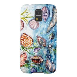 Pintura de la acuarela de Shell del mar Carcasas Para Galaxy S5