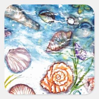 Pintura de la acuarela de Shell del mar Calcomanía Cuadradas Personalizadas