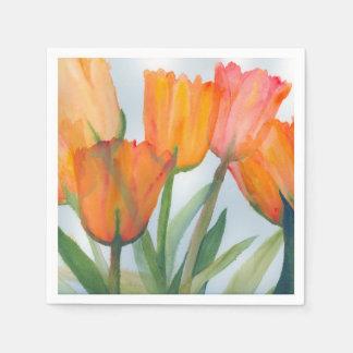 pintura de la acuarela de tulipanes anaranjados servilleta de papel