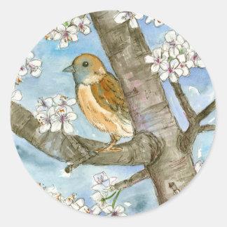 Pintura de la acuarela del árbol floreciente del pegatina redonda