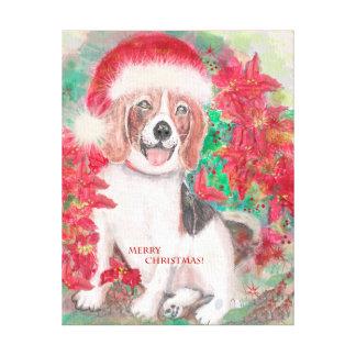 Pintura de la acuarela del beagle del navidad impresiones en lienzo estiradas