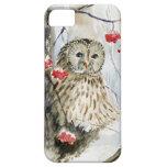 Pintura de la acuarela del búho barrado iPhone 5 carcasas